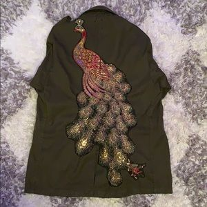Vintage Peacock Embroidered Military Jacket